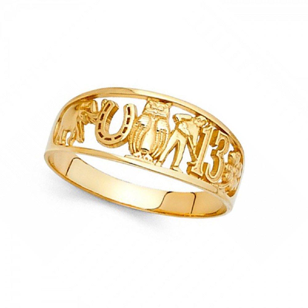 Good Luck Charm Ring 14k Yellow Gold Owl Clover 13 Elephant Horseshoe Band Lucky Symbols 8MM Size 7.5