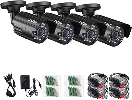 ZOSI 1080P 4 Pack HD-TVI Security Bullet Cameras Outdoor Indoor Weatherproof with 24pcs IR LEDs 65ft Night Vision for 2.0MP Surveillance TVI CCTV System Renewed