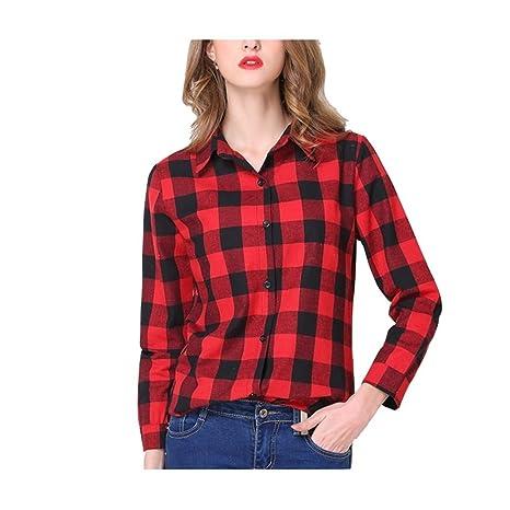 40a4a39b1 Yingsssq Blusa de Mujer de Manga Larga a Cuadros Camisa de Cuello a Cuadros  Blusa Chic Primavera Verano (Color   Rojo y Negro