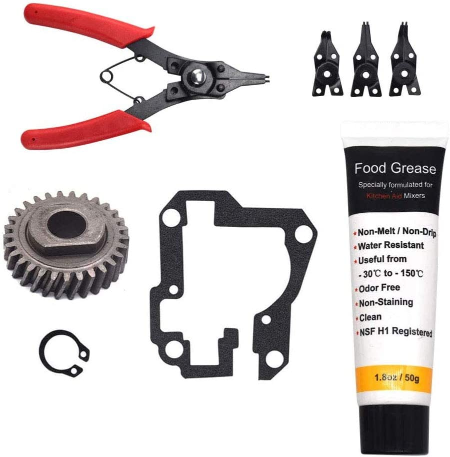 HandyTek 9706529 W11086780 Replacement Gear Parts Compatible with Whirlpool Worm the 9709511 Gasket and 9703680 Circlip & 1.8 Oz Food Grade Grease and 4 in 1 Snap Ring Pliers Set