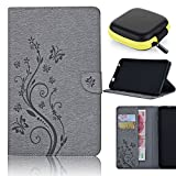 Samsung Galaxy Tab A Case 8.0, Pershoo New Fashion Embossing process Case Butterfly Pattern PU Leather Magnetic Flip Stand Cover With Card Slots for SM-T350, Earphone Case, Gray