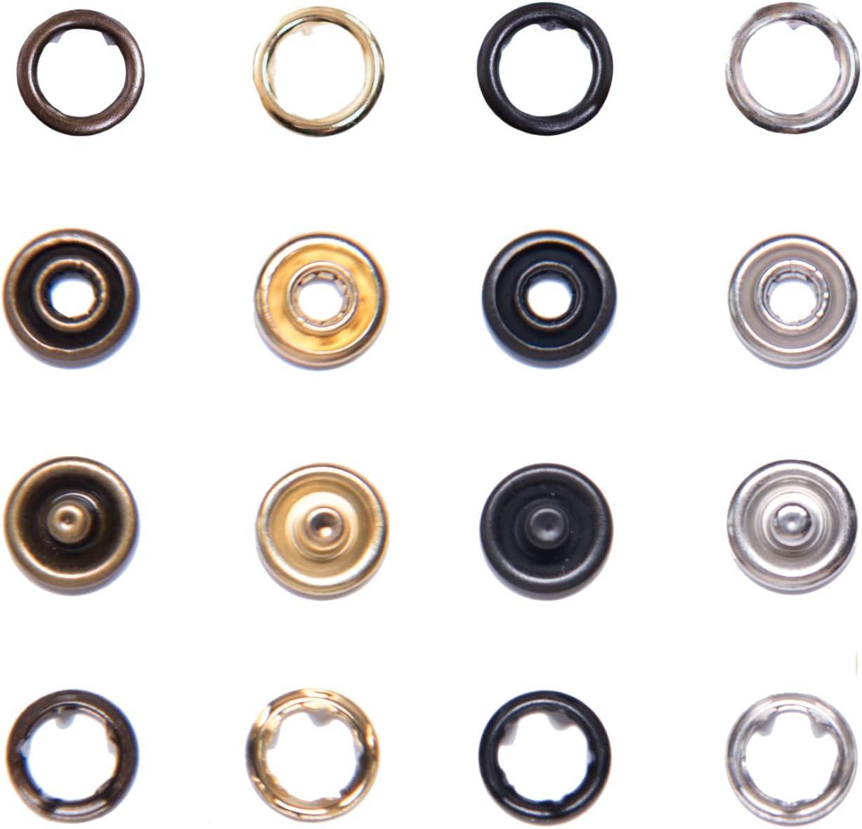 Druckknopfwerkzeug und 50 Jersey-Druckkn/öpfen bestehend aus Spindelpresse Edelstahl Silber, 7, 5 mm Drehspindel INOX Set GETMORE Parts Spindelpressen