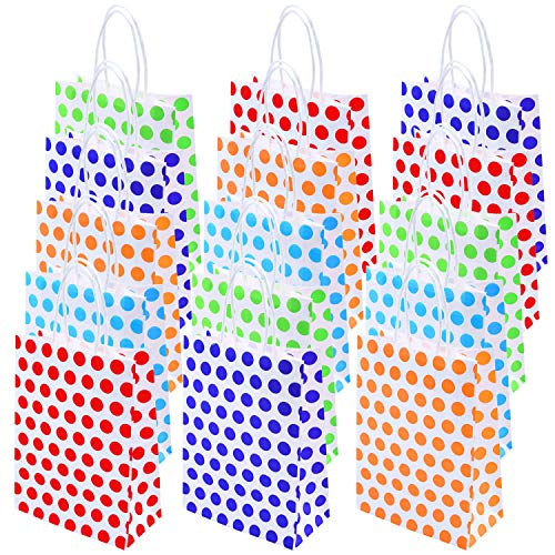 Coobey 40 Pieces Dot Paper Bags Kraft Bag Party Gift Bag with Handle for Birthday, Wedding, Party Favors, Multicolour ()