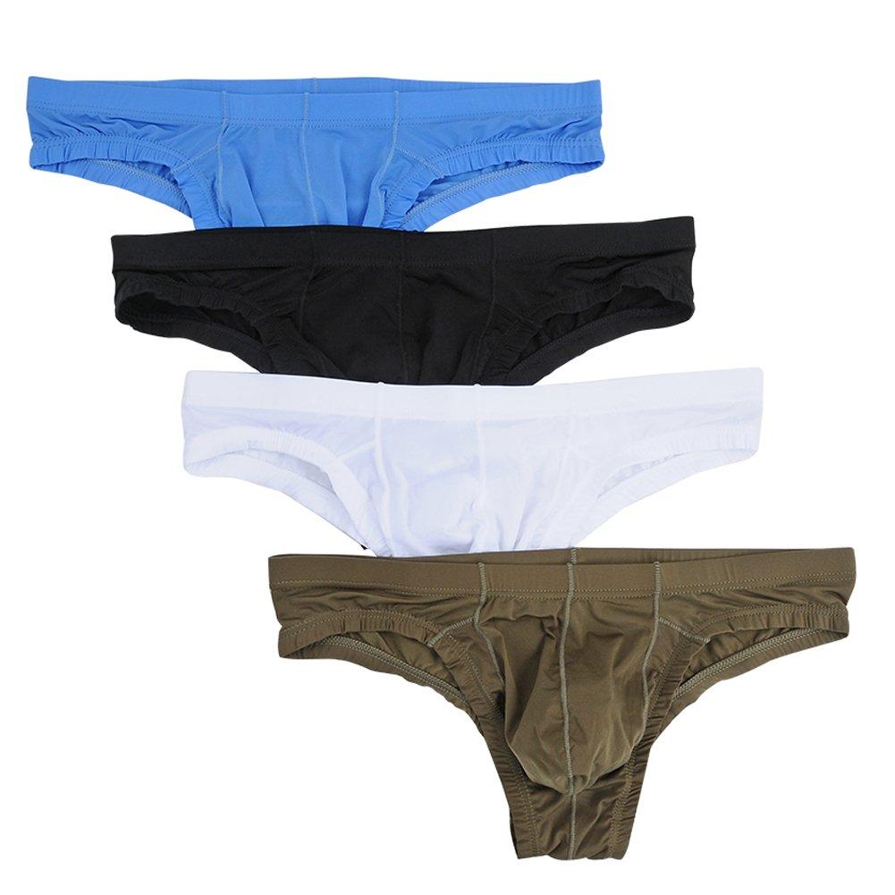 Nightaste Men's Comfort Bikini Briefs Lightweight Soft Triangle Underwear (L, 4 Colors)
