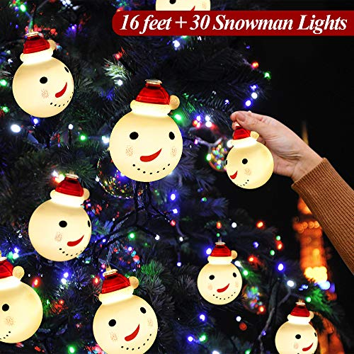 16ft Christmas String Lights Christmas Lights Decorations Snowman 30 LED Lights Battery Operated Indoor Outdoor Christmas Decor for Xmas Tree Lawn Patio Garden Home Wedding Party, Warm White