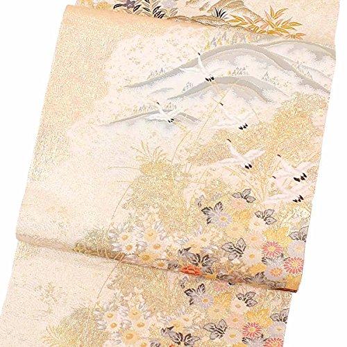 袋帯 鶴 草花 金銀 フォーマル 6通 正絹 着物 きもの リサイクル レディース 【中古】 90024553