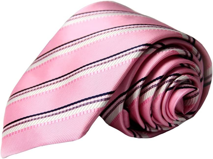Tie Fashion Men Tie Stripe Necktie Pink Polyester Jacquard Weave for Office Party