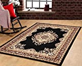 Furnish my Place Traditional Oriental Medallion Area Rug Persian Style Carpet Maharaja 611, Black Review