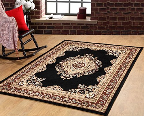 Furnish my Place Traditional Oriental Medallion Area Rug Persian Style Carpet Maharaja 611, (Black Persian Rug)