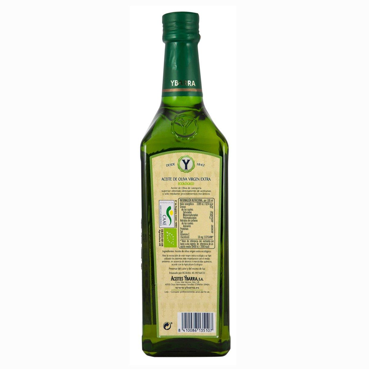 Ybarra Aceite de Oliva Virgen Extra Ecológico - 4 Recipientes de 750 ml - Total: 3000 ml