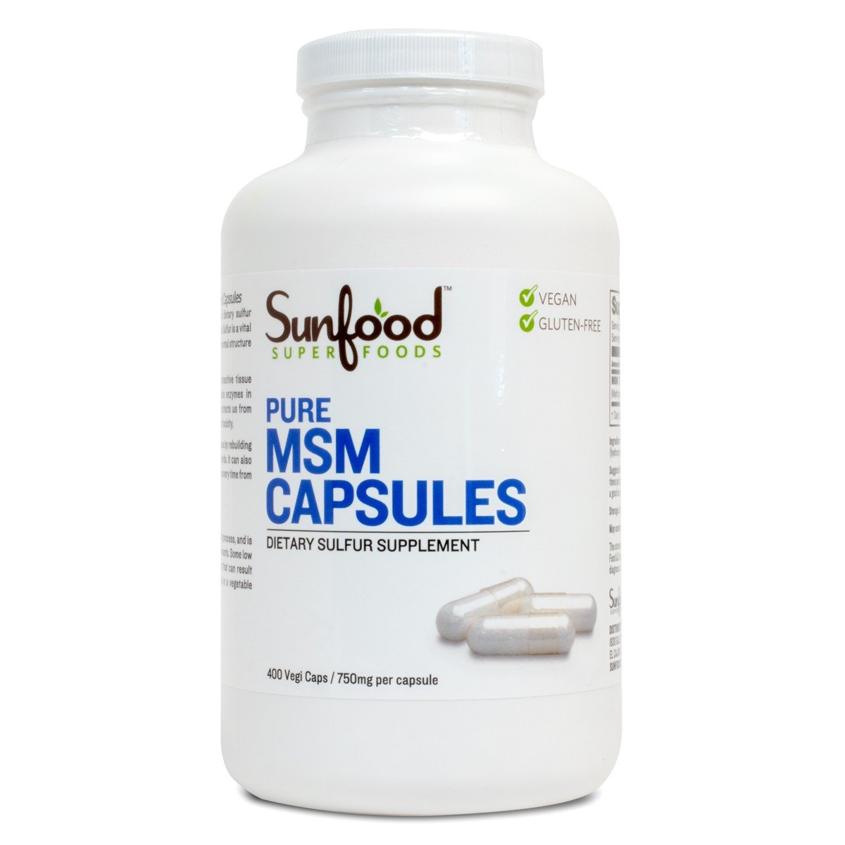 Sunfood Superfoods Pure MSM Capsules  100% Pure MSM  750 mg Capsules, 400  Count Bottle