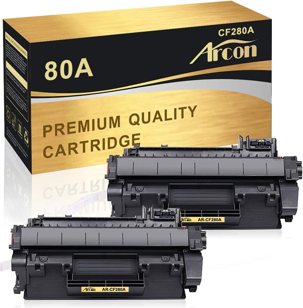 Arcon Compatible Toner Cartridge Replacement for HP Laserjet 80A CF280A 80X CF280X M401dne for HP Laserjet Pro 400 Toner HP M401n M401dne Toner HP Laserjet Pro 400 MFP M425dn Toner Printer (2-Packs)
