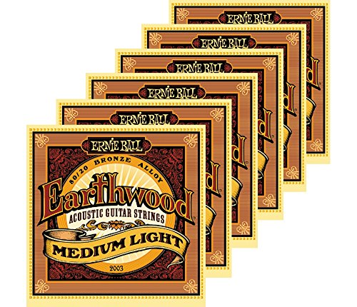 Ernie Ball 2003 Earthwood 80/20 Bronze Medium Light Acoustic Strings 6 Pack ()