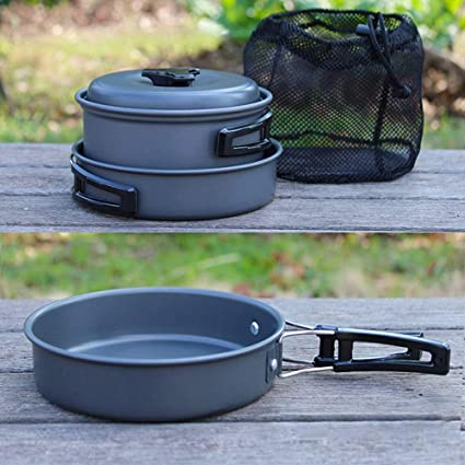 JANRON-Camping Cook 9pcs Que acampa Kit de Cocina portátil portátil de Utensilios de Cocina Ideal para mochilero Camping al Aire Libre Senderismo y Picnic ...