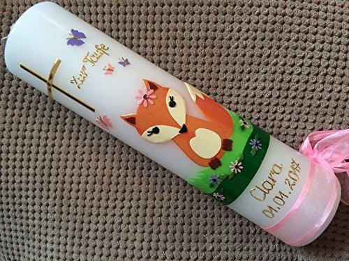 !! keine Folie !!! inkl handgearbeitete Wachsverzierungen Taufkerze mit Fuchs Beschriftung von Babyprince