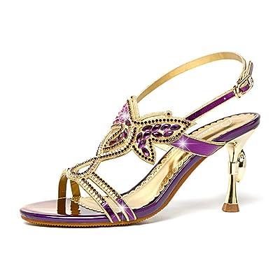 ZYQME Femmes Open Toe Block Hauts Talons Papillon Sandales Chaussures Slingback Wedding Prom Party Bridal Chaussures