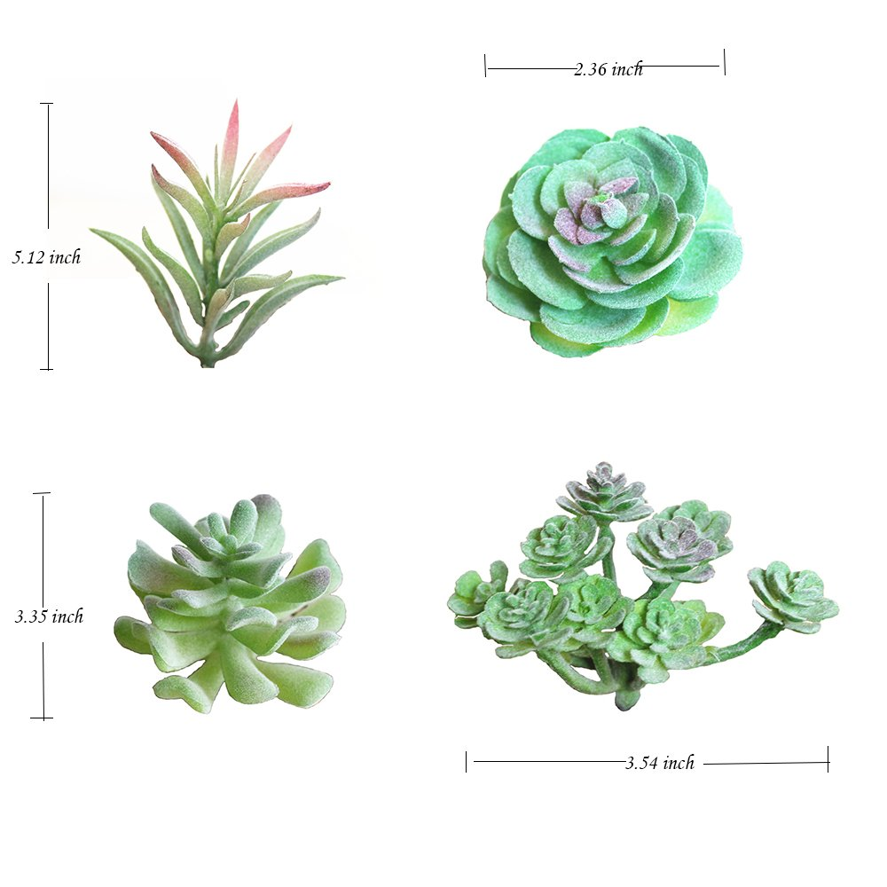 WOWENWO 8 Pcs Artificial Succulents Plants Fake Assorted Faux Succulent in Different Green Realistic Looking Variety Assortment DIY Home Wall Garden Decoraction