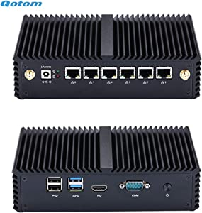 Qotom 6 LAN Mini PC Q555G6 Core i5-7200U Processor Dual core 2.5 GHz 8GB RAM 64GB SSD to Build Home Office Firewall Router