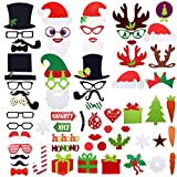 Homgaty 67 Pcs Christmas Photo Booth Props Funny DIY Foto Booth with Moustache, Hat Lips On A Stick for New Year,Wedding,Birthday Party
