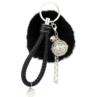 Ularma - Llavero elegante diseño con suave pompón de peluche ...