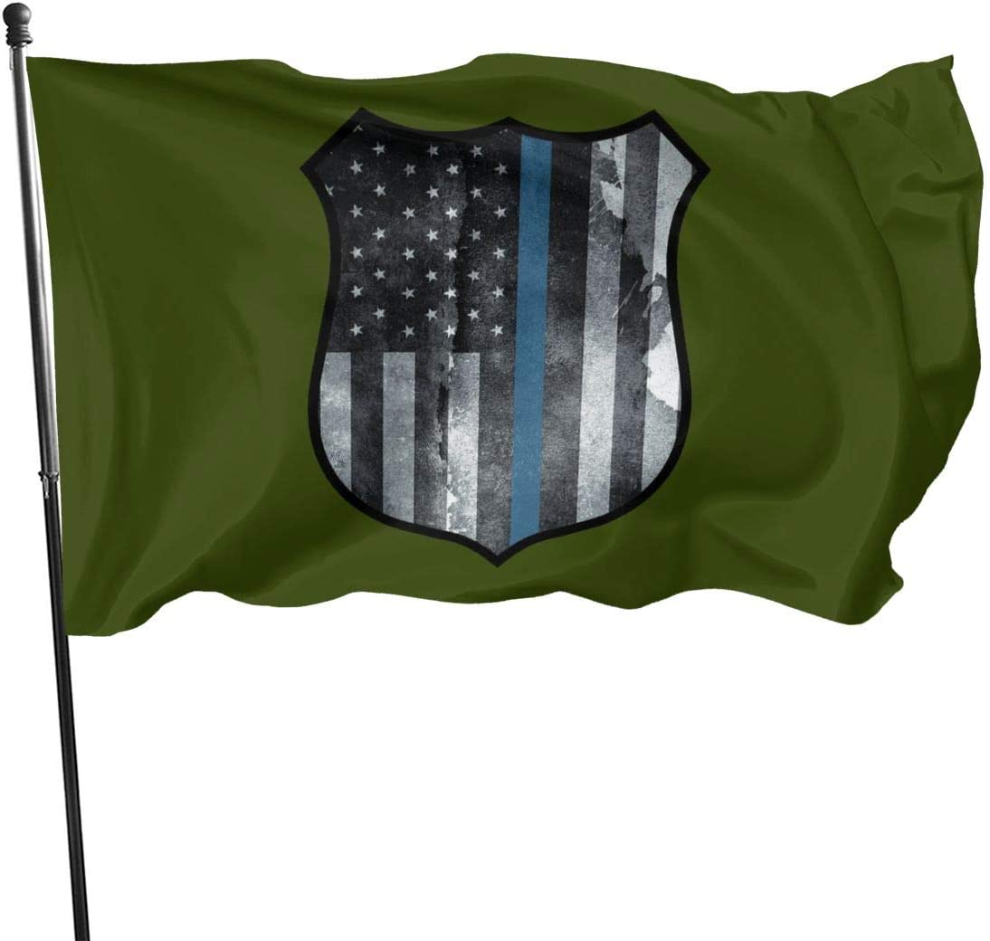 Amazon Com Zhangpeienfaqi Police Shield Tattered Thin Blue Line Police Officer Sheriff Badge Flag 3 X 5 Ft Outdoor Flags Banner Breeze Flag Garden Outdoor