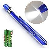 Escolite Nurse Penlight Medical Nursing LED Penlight with Pupil Guage Reusable for Doctors Nurses Diagnostic White Penlights Blue Color Free Batteries