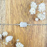"Raw rainbow moonstone crystal nugget anklet in 925 sterling silver - 8"" chain with 2"" adjustable extender - June birthstone"