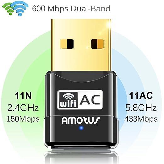 24 opinioni per Amotus USB WIFI Adattatore AC600 Dual Band Wireless Dongle 600Mbps 802.11ac