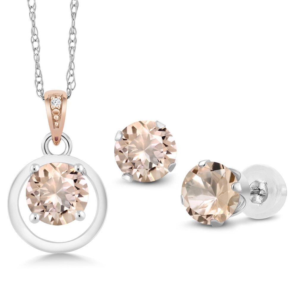 925 Silver & 10K Rose Gold 1.81 Ct Morganite Diamond Accent Pendant Earrings Set
