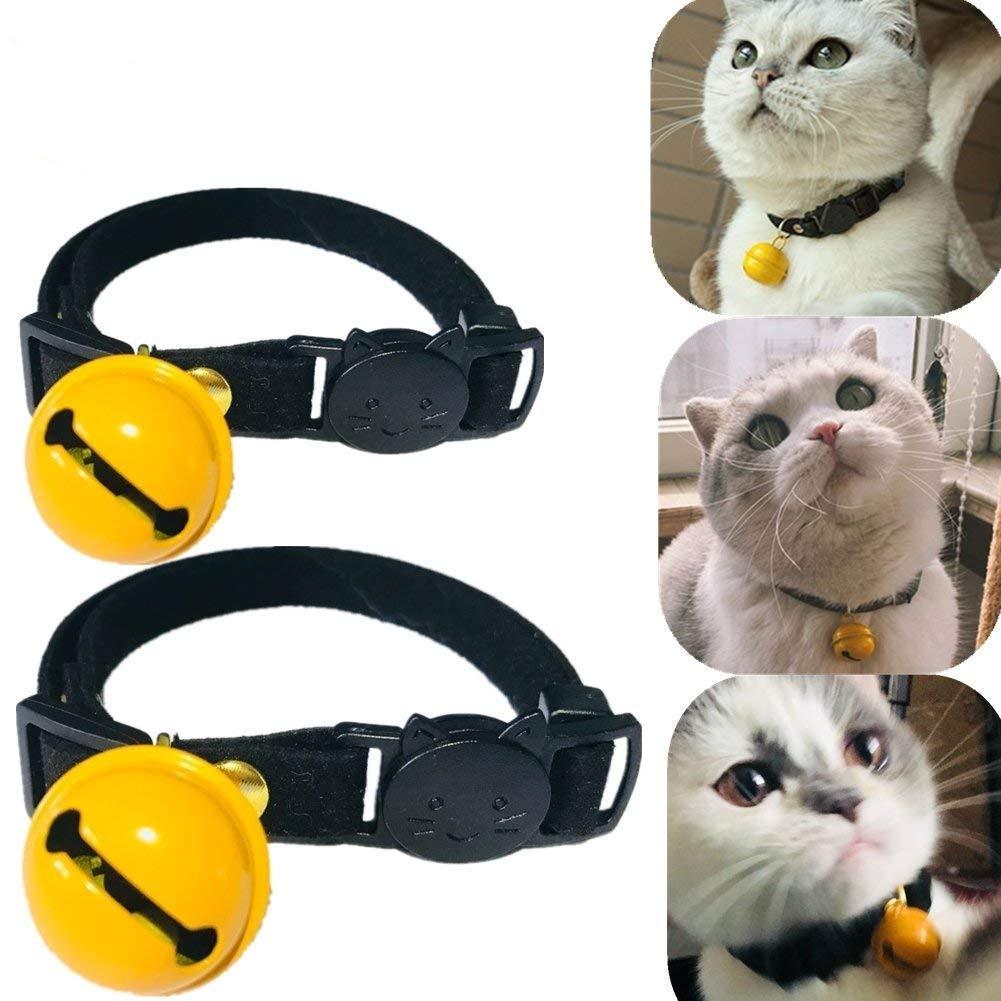 Cat Collars with Bell, Runfish Breakaway Dog Collar Adjustable Fashion Funny Cute Pet Collar Set of 2, Black