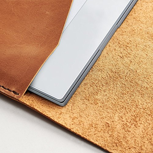 Tan Brown Google Pixelbook Leather Case, Chromebook Leather Sleeve, Laptop Leather Folio, Mens Case With Google Pen Holder. // DRAFTSMAN 1 by Capra Leather