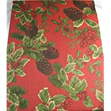Ralph Lauren Holiday Birchmont Tablecloth Holly Berries and Pine Cones 100% Cotton 60 x 84 Red