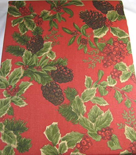 Ralph Lauren Holiday Birchmont Tablecloth Holly Berries and Pine Cones 100% Cotton 60 x 104 Red by RALPH LAUREN