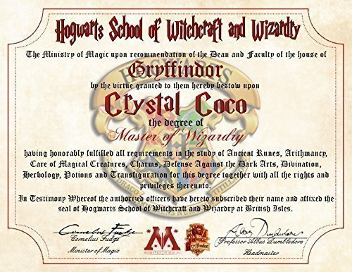 Amazon gryffindor personalized harry potter diploma hogwarts gryffindor personalized harry potter diploma hogwarts school of witchcraft and wizardry degree of master of yadclub Image collections