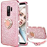 Maxdara Galaxy S9 Plus Case, Galaxy S9 Plus Glitter Case Sparkle Shiny Bling Diamond Rhinestone Bumper Girls Women Case Ring Holder Grip Stand Case Cover for Galaxy S9 Plus 6.2 inches (Rosegold)