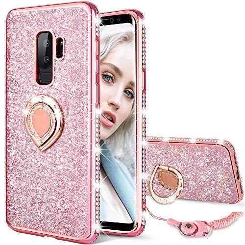 Maxdara Galaxy S9 Plus Case, Galaxy S9 Plus Glitter Case Sparkle Shiny Bling Diamond Rhinestone Bumper Girls Women Case Ring Holder Grip Stand Case Cover for Samsung Galaxy S9 Plus 6.2 inch (Rosegold)