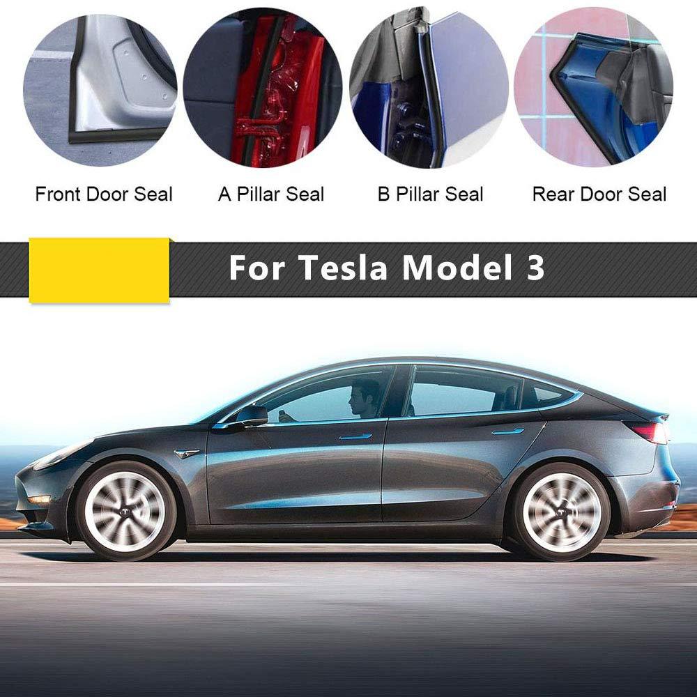 Foonee Joint de Porte de Voiture pour Tesla mod/èle 3 en Caoutchouc insonorisant Contre Les Courants dair et Le Vent