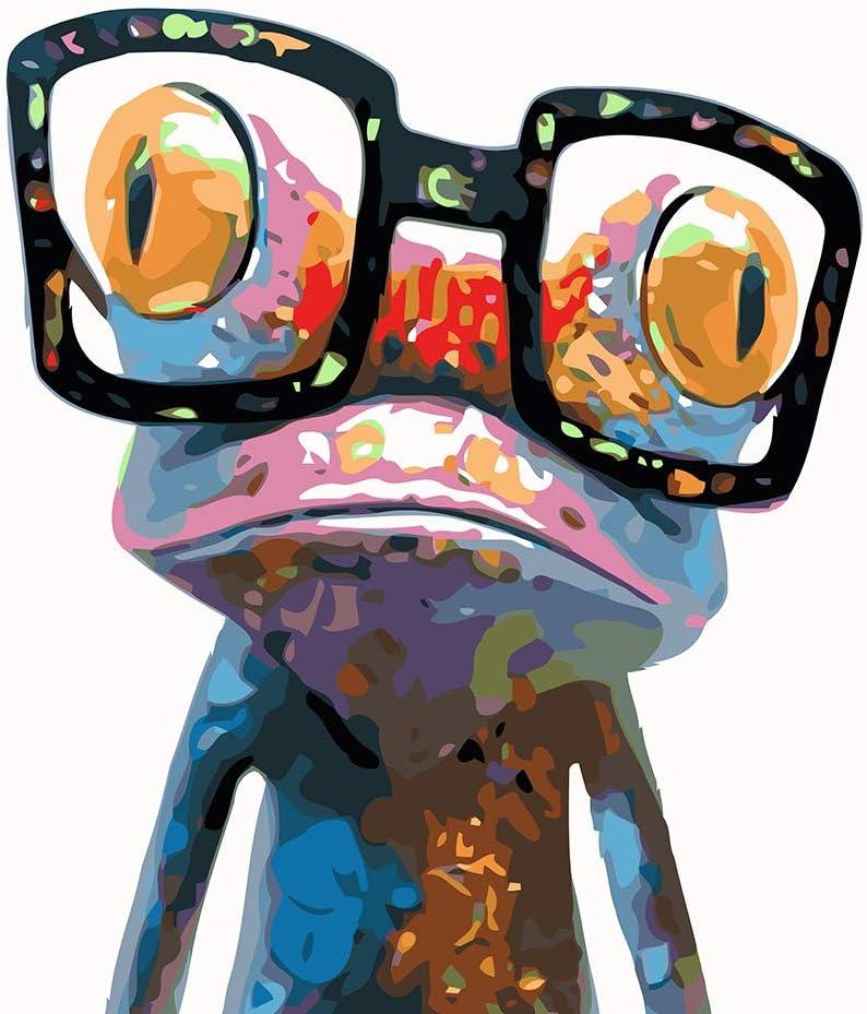 WONZOM DIY Pintura por Números para Adultos Niños Principiantes, Kit de Pintura por Números sobre Lienzo, Rana Colorida con Gafas 16 * 20 Pulgadas Sin Marco