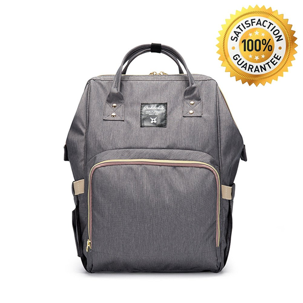 Baby Diaper Bag Backpack, FLYMEI Multi-Function Waterproof Travel Bag Nursing Bag Mummy Maternity Nappy Changing Handbag for Baby Care, Large Capacity, Stylish and Durable (Gray)