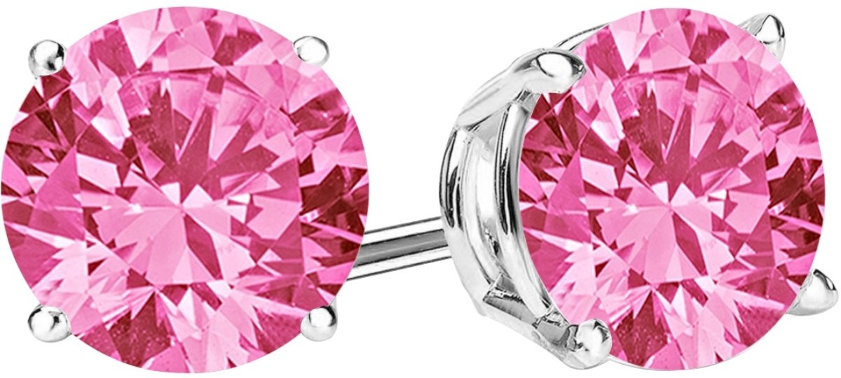 1/2 Carat Total Weight Pink Sapphire Solitaire Stud Earrings Pair 14K White Gold Popular Premium Collection 4 Prong Push Back
