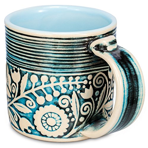 H-Line Handmade Unique 3D Ceramic Mugs, 14.5-Ounce - Blue