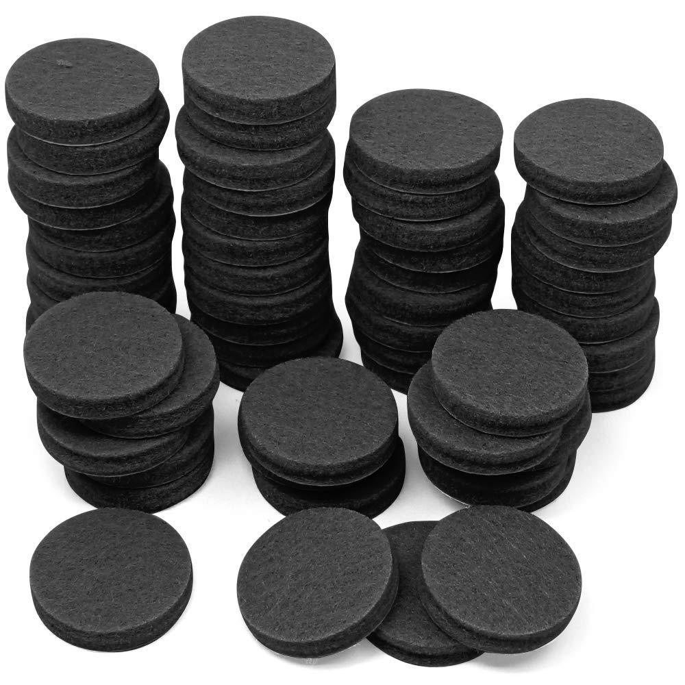 YuCool Almohadillas de fieltro antideslizantes para muebles (60 unidades, 2,5 cm, fieltro antideslizante), color negro