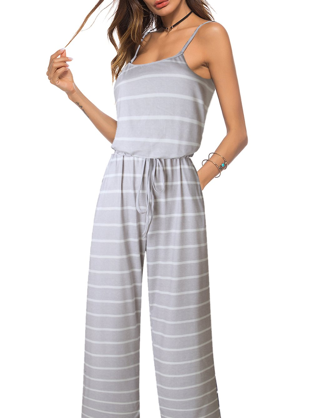 Famulily Women's Comfy Stretch Elastic Waistband Striped Sleeveless Wide Leg Jumpsuits Outfitwith Drawstring Grey S