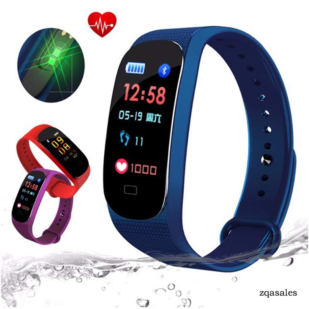 zqasales Fitness Tracker, Color Screen Activity Tracker Heart Rate Monitor,Steps Counter IP67 Waterproof Smart Watch Calorie Counter Watch Pedometer Sleep Monitor Kids Women Men (Blue)