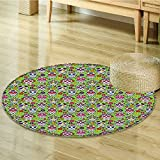 Round Area Rug Carpet And Skulls Day Catholic Ceremony Artistic Design Art Living Dinning Room and Bedroom Rugs-Round 39''