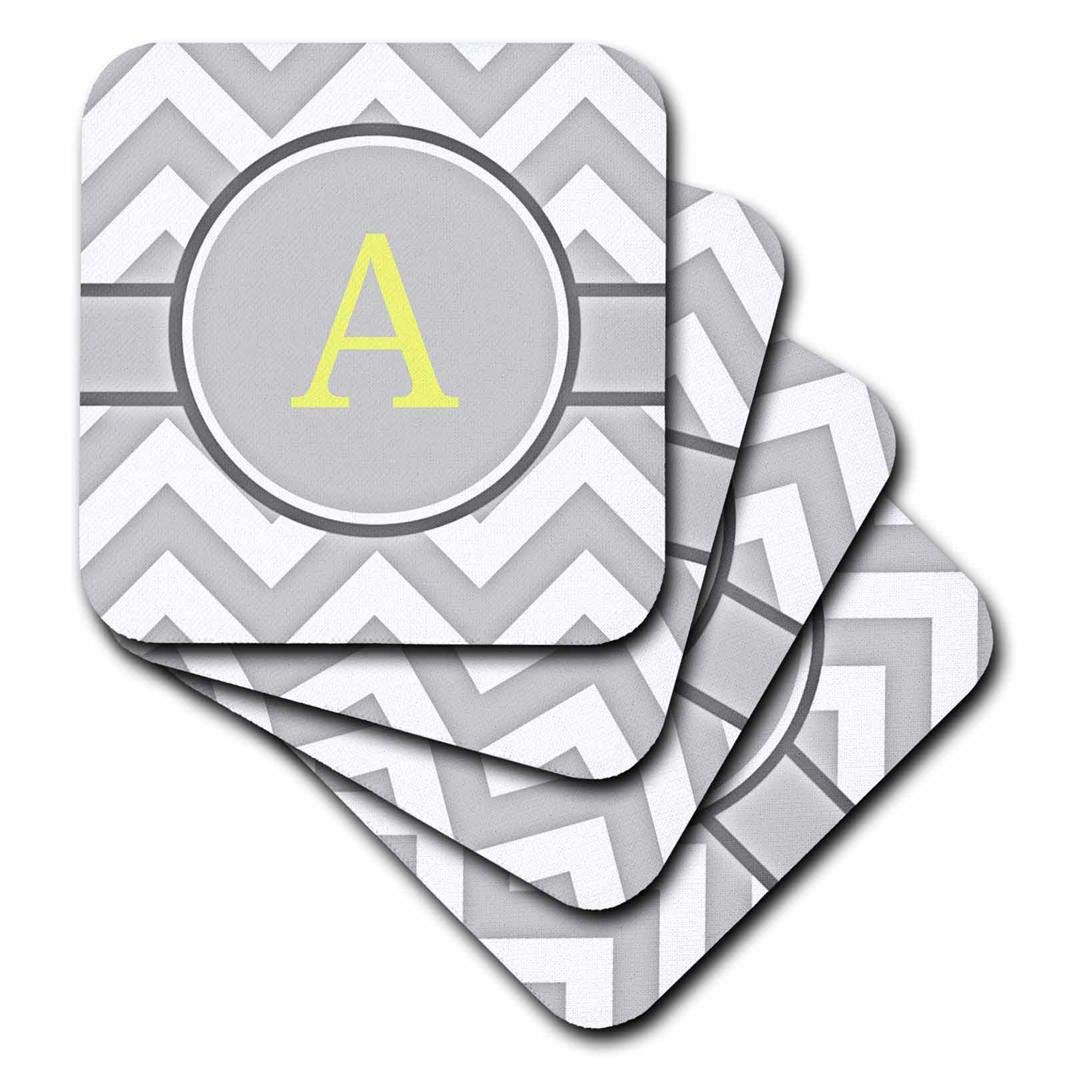 3dRose Grey and white chevron with yellow monogram initial A set of 8 cst/_222089/_2 Soft Coasters