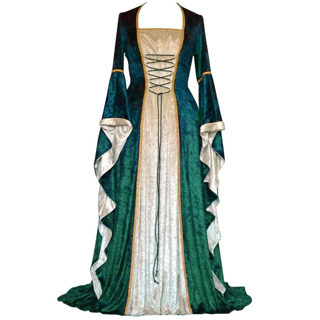 Women Medieval Dress Renaissance Lace Up Vintage Gothic Dress Floor Length Hooded Cosplay Dresses Retro (1-Green(No Hooded), 2XL) by Hotcl