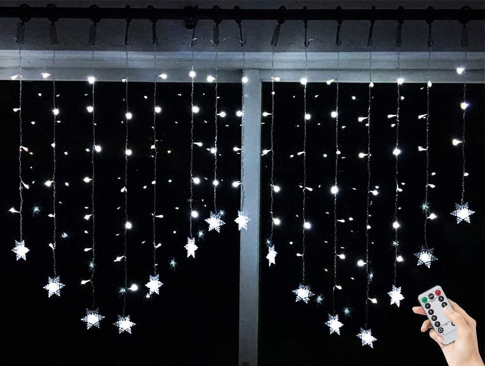 BLOOMWIN Fiocco di Neve Luce Catena, LED Catena Luminosa 2m x 1m 8 Modalit224; lampeggiante 104 LED per Natale Finestra Stanza Festa Bianco freddo [Classe di efficienza energetica A] XY001