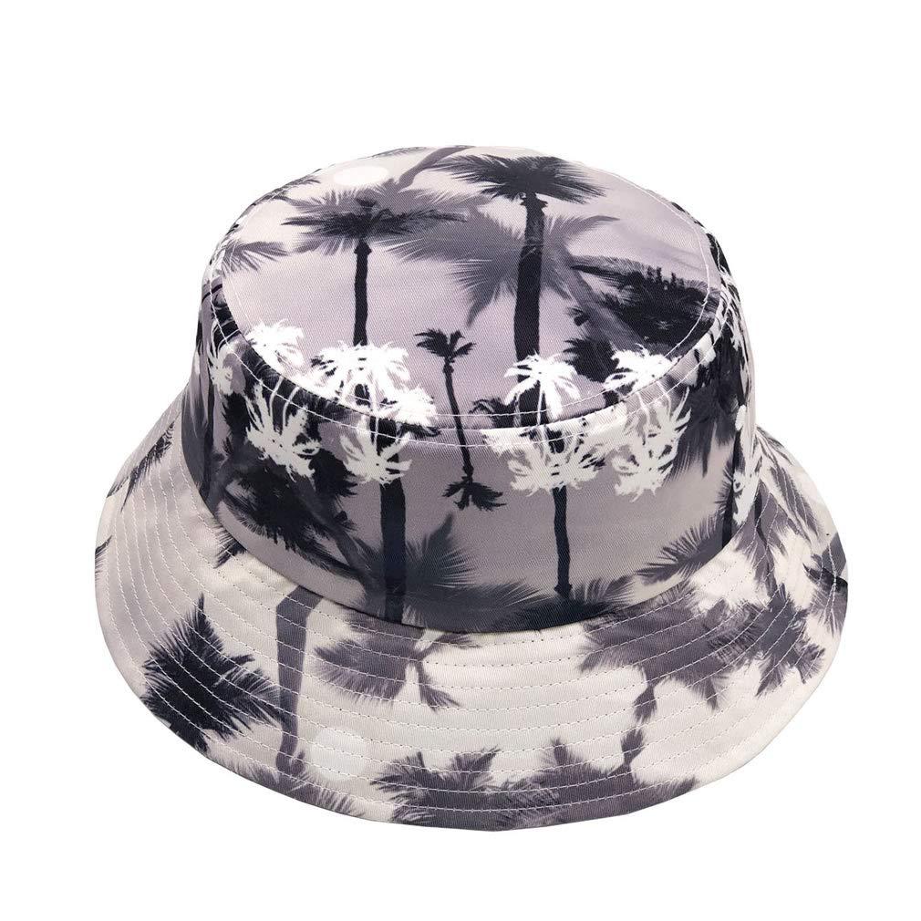 Quanhaigou Palm Tree Printed Bucket Cap Women Summer Boonie Hat Fisherman Reversible Packable Hats