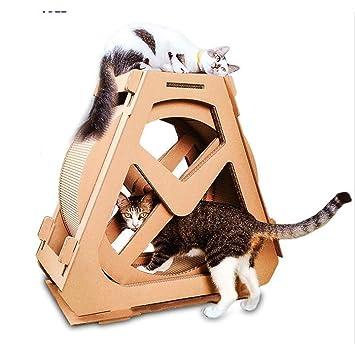 MOIMK Mascotas giratoria Rueda de Ferris de Papel Corrugado para Gatos árbol Escalada de Basura con Cero Placa Muebles de Gato Gatos rascador,L: Amazon.es: ...